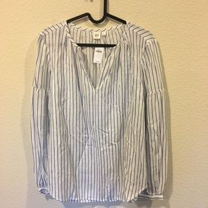 GAP Tops - NWT GAP white and blue long sleeve top